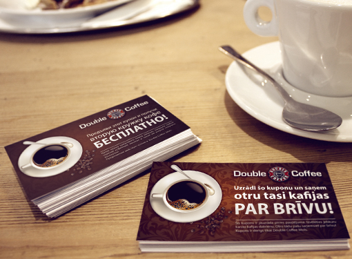Special offer cards for Double Coffee, Mols